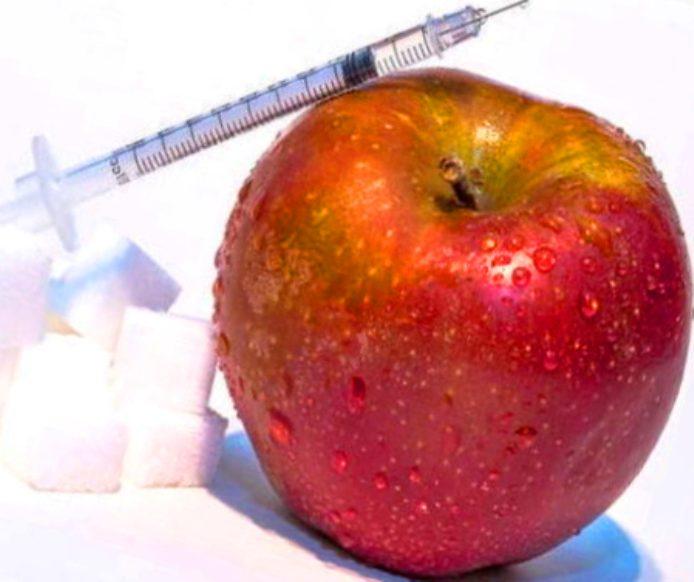 яблоко, сахар, шприц
