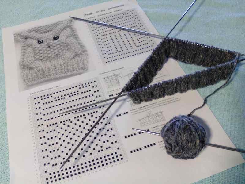 Начало вязания шапочки спицами